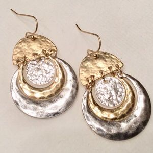 Hammered Metal Circle Drop Earrings